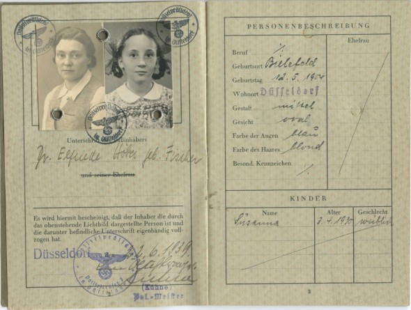 German Passport issued to Elfriede Fischer Höber and Susanne Höber, Düsseldorf, June 22, 1939.
