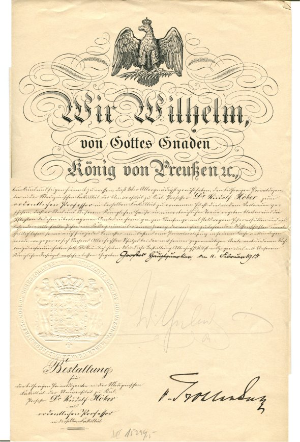 Rudolf Höber's professorial appointment signed by Kaiser Wilhelm, February 11, 1915.