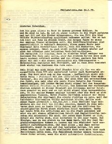 Carbon copy of a letter from Johannes Höber  in Philadelphia to Elfriede Höber in Düsseldorf , 24 January 1939