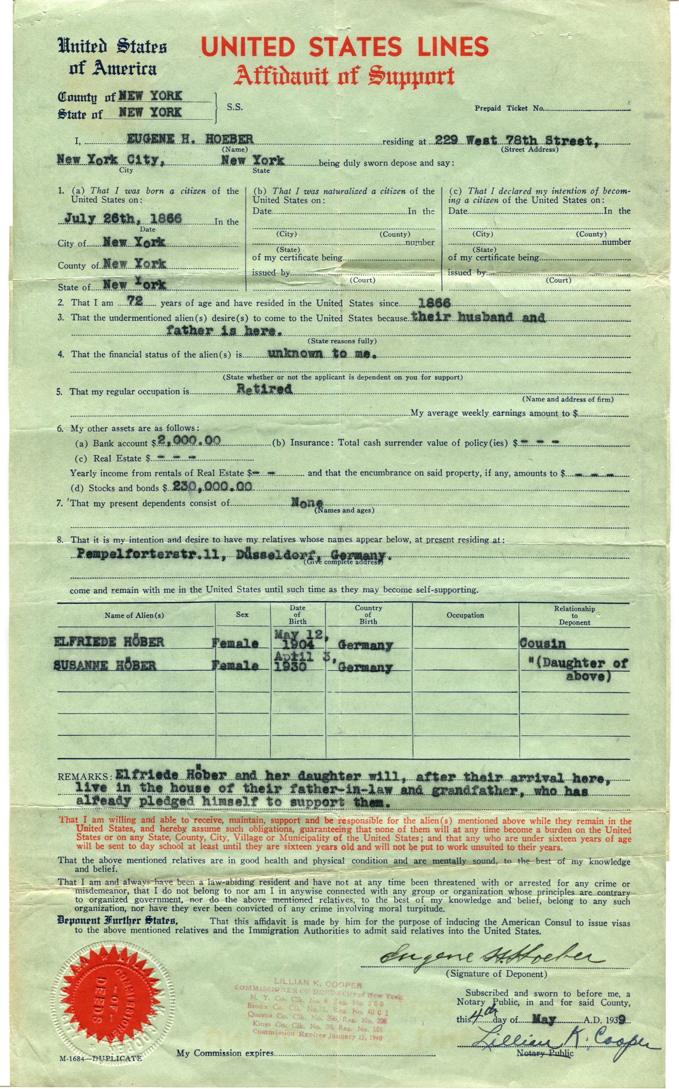 An Affidavit of Support Key to Escape from Nazi Germany – Affidavit of Support