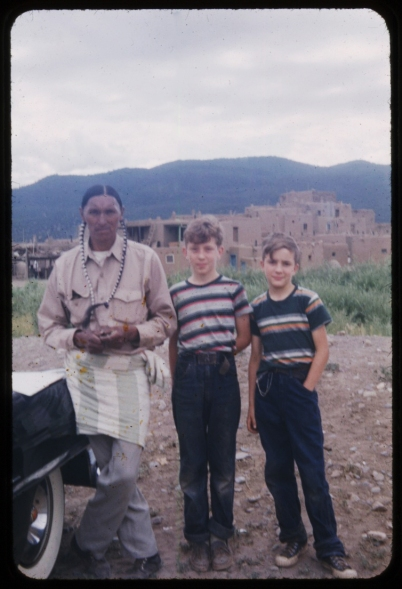 With the Governor of the Taos Pueblo, NM, 1953.