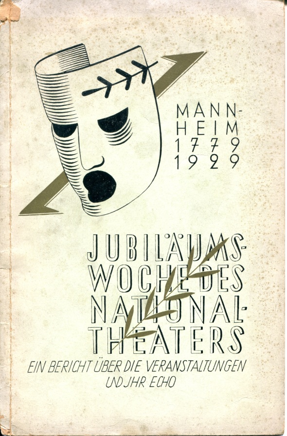 Program for the commemoration of the 150th anniversary of the national theater in Mannheim, 1929.