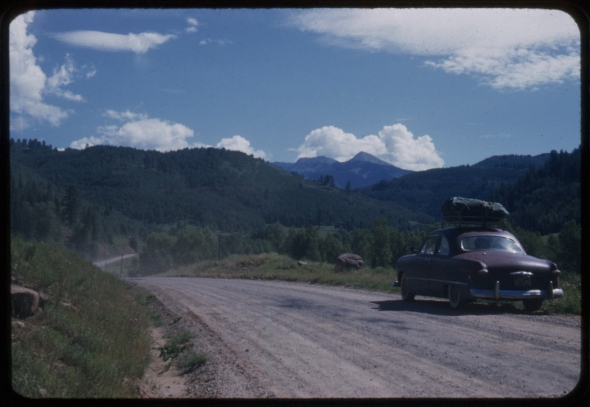 On the road to Telluride Colorado, unpaved in 1958.