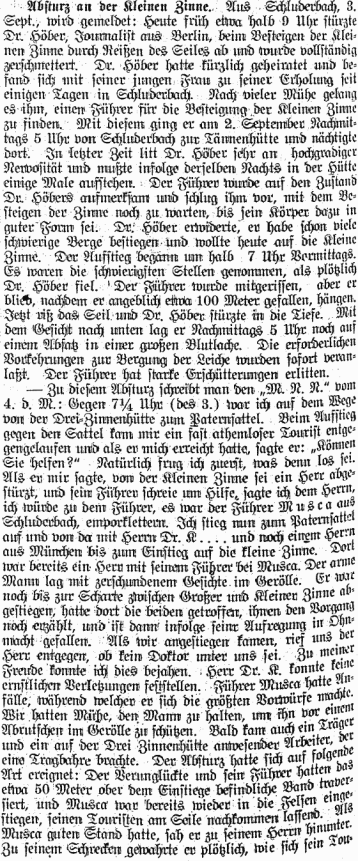 Newspaper Account of the Death Of Eduard Höber, Bozener Nachrichten, September 7, 1906