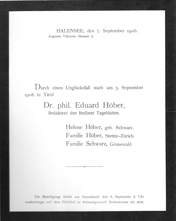 Announcement of the Death of Eduard Höber