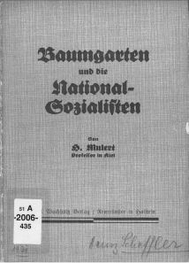 """Baumgarten and the National Socialists,"" a report containing Rudolf Höber's order expelling Nazi students from the University of Kiel, 1930."