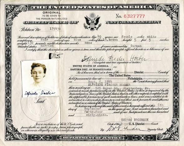 Citizenship Certificate of my mother, Elfriede Fischer Hoeber, September 6, 1944.