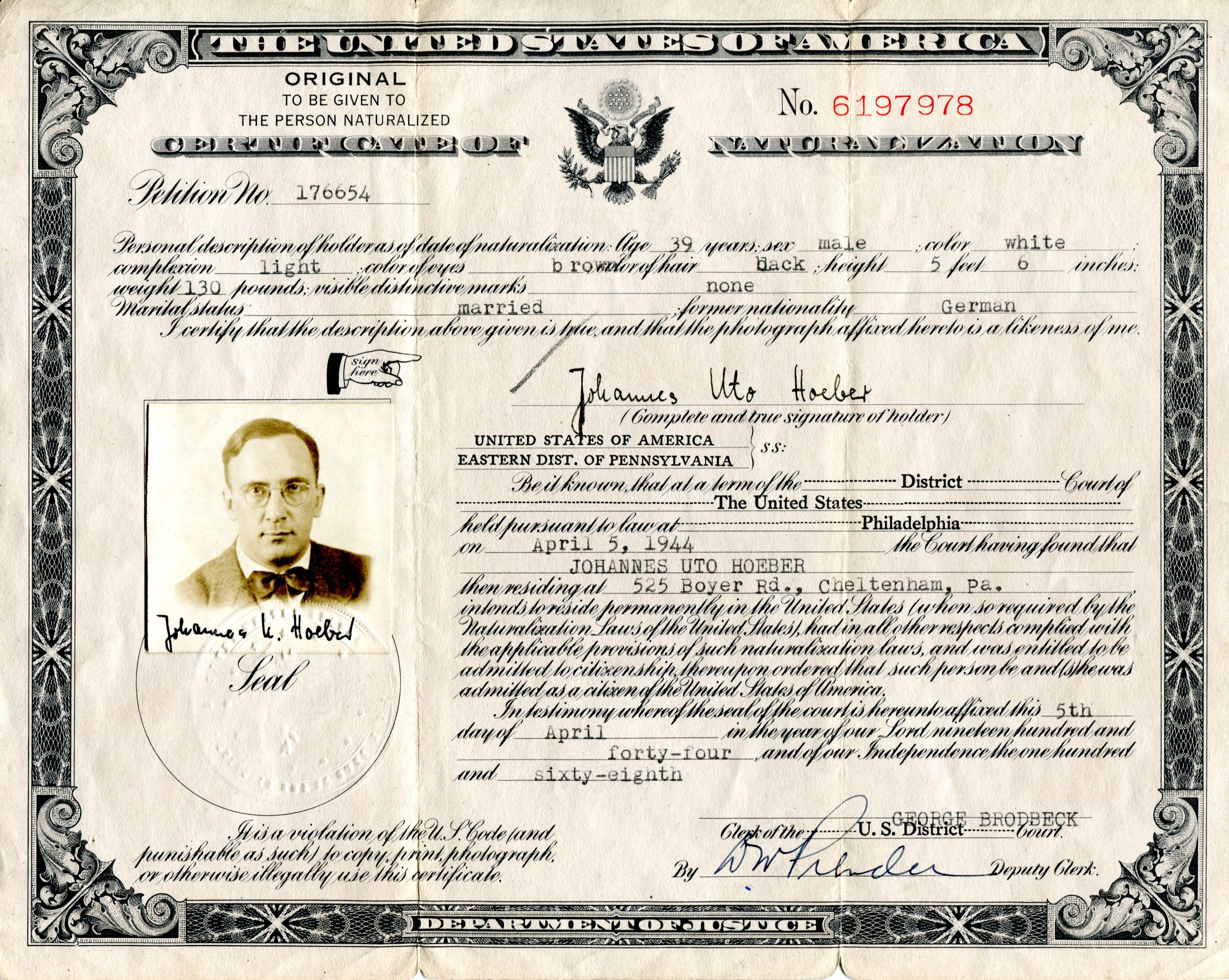 Us citizenship certificate hoeber citizenship certificate of my father johannes u hoeber april 5 1944 xflitez Image collections