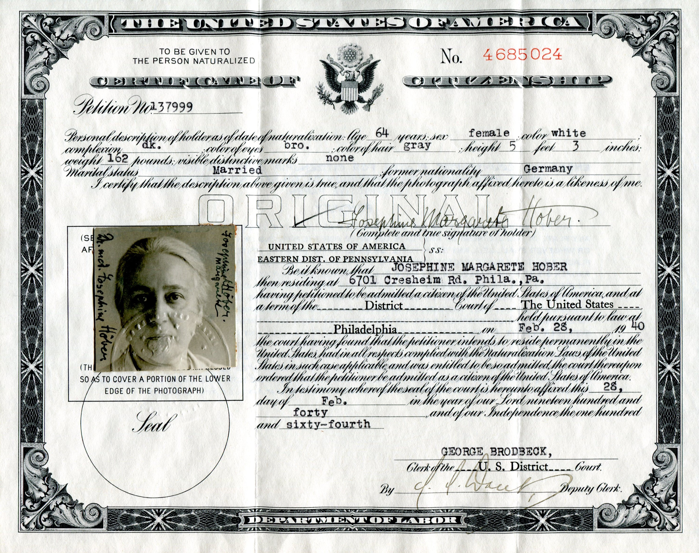 Right to vote hoeber my grandmother josephine hobers citizenship certificate february 28 1940 to me she xflitez Choice Image