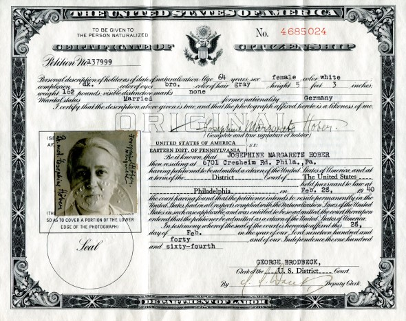 My grandmother Josephine Hober's  Citizenship Certificate, February 28, 1940.  To me, she has the proud, self-confident expression of a new American.
