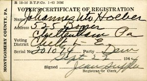 Johannes' voter registration card, September 22, 1944.
