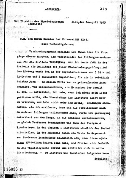 Copy of Rudolf Höber's report to the Provost of the University of Kiel, April 24, 1933. Obtained from Rudolf's personnel file in the Prussian Secret State ARchives in Berlin.