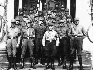 A group of Stormtroopers, Hitler's jackbooted paramilitaries.  They were also called Brownshirts because of their uniforms.  In German they were known as the Sturmabteilung or SA.