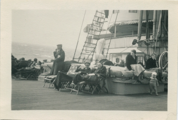 Rudolf and Josephine Höber  on the boat to the United States.  Both were workaholics, so their relaxation in this picutre is uncharacteristic for both of them.