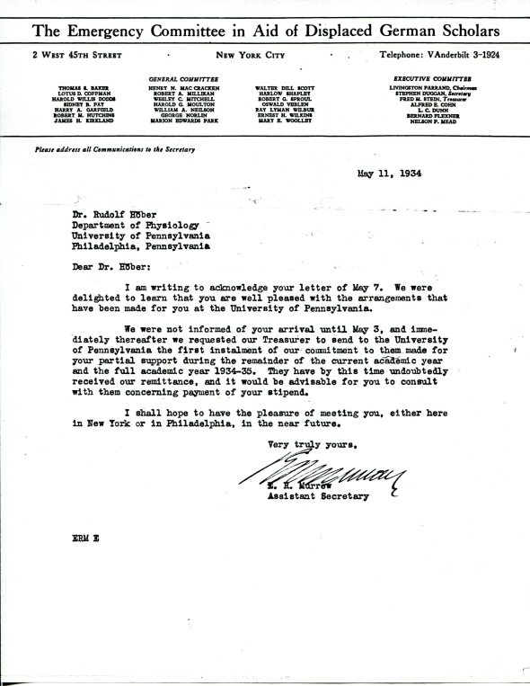 Edward R. Murrow's letter acknowledging Rudolf Höber's placement at the University of Pennsylvania, May 12, 1934. 9click for larger image)