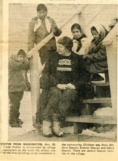 Elfriede with Grayling kids outside the school, April 4, 1966.