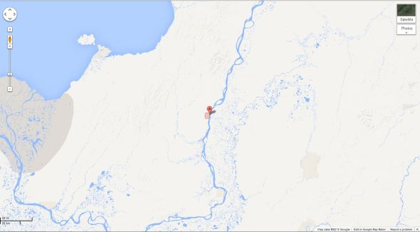 Map showing location of Grayling, Alaska. There's nothing but tundra for miles around.