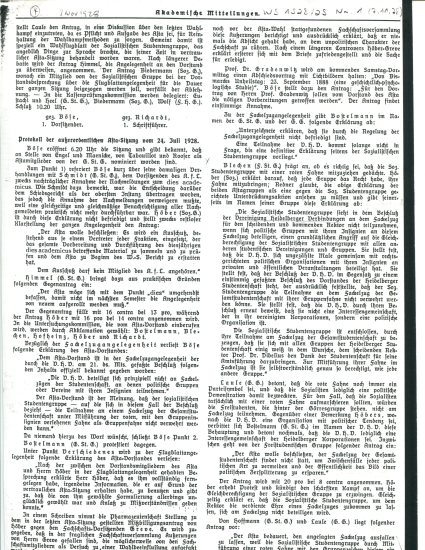 Minutes of the Student Senate meeting of July 24, 1928 in which Johannes Höber announced that the Socialist Students Association would march with a red flag in the ceremonial torchlight parade. The minutes were published in the university newspaper.
