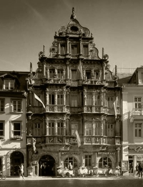 "Hotel and tavern ""Zum Ritter"" in Heidelberg.  In the 1920s it was a favored hangout for the fraternities and for Nazis."