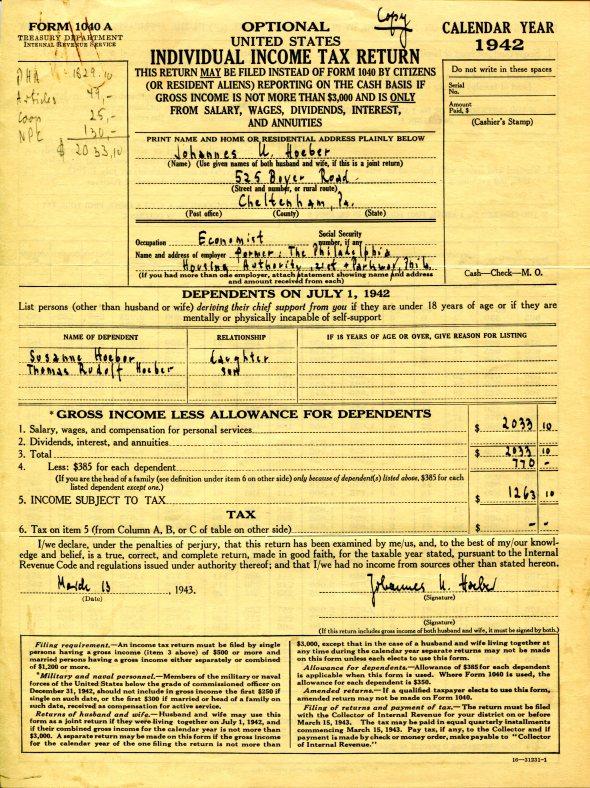 Johannes Hoeber's income tax return, 1942.