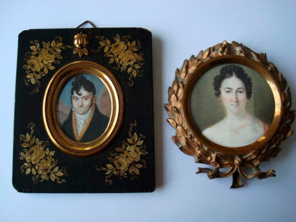 Portraits of Eduard Höber and Amalia Oppenheim Höber around the time of their marriage in 1839.  Miniature paintings by their daughter, Marie, copied from larger oil portraits (lost) in the 1860s.