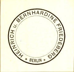 Heinrich and Bernhardine Friedeberg's bookplate from a volume of Geiger's Collected Writings.