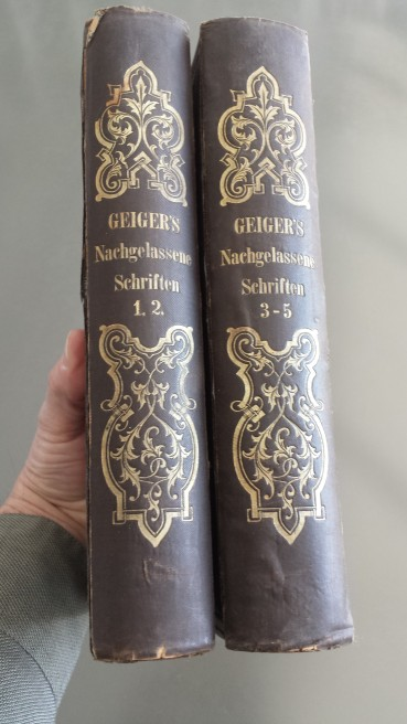 The Collected Writings of Abraham Geiger preserved by the Jewish Community of Nuremberg and returned to me on behalf of the original owners, Heinrich and Bernhardine Friedeberg.