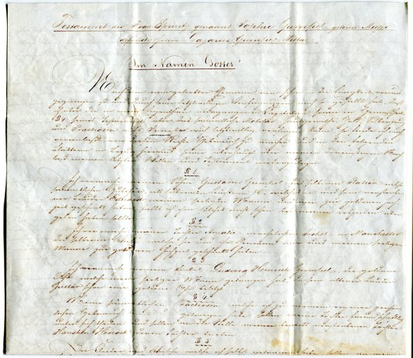 Copy of the Will of Sophie Gumpel dated February 12, 1844.  Click on image to enlarge.