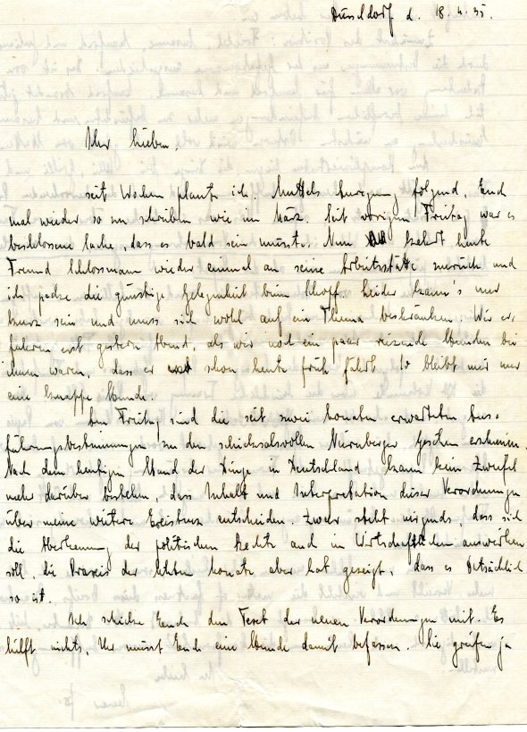 Letter from Johannes Höber in Düsseldorf to his father, Rudolf, in Philadelphia, November 18, 1935.  Johannes asks his father about his grandfather Anselm's Jewish origins.