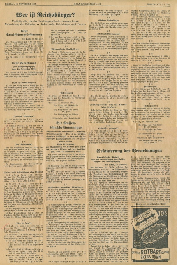 """""""Who is a Citizen?""""  Article clipped from the Kölnische Zeitung (Cologne Daily) of November 15, 1935.  The article is the first publication of the implementing regulations for the Nuremberg laws depriving German """"Jews"""" of their citizenship."""