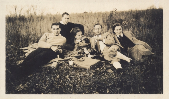 A peaceful picnic in the country a few days after Elfriede and Susanne reached America, November, 1939.  Walter Phillips; Francis Phillips, Walter's brother; Susanne Hoeber; Johannes Hoeber; Elfriede Hoeber.  The photograph was probably taken by Mary Phillips.