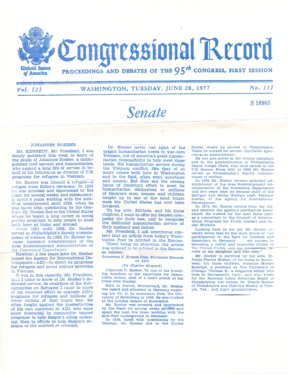 United States Congressional Record, June 28, 1977.  Remarks of Senator Edward M. Kennedy of Massachusetts