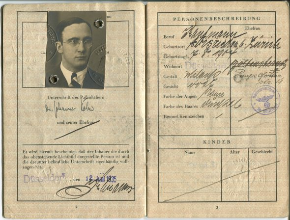 The German passport that Johannes Höber used to cross the border from Germany into Switzerland on November 12, 1938.