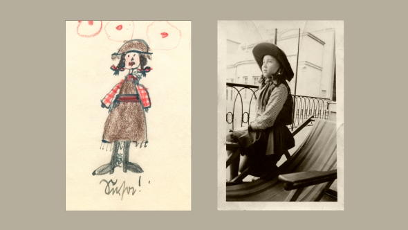 "Susanne Höber as ""Mexicanerin"" for Karneval, Monday, February 20, 1939.  Her drawing of herself is on the left and a photo by her Uncle Günter Fischer is on the right."