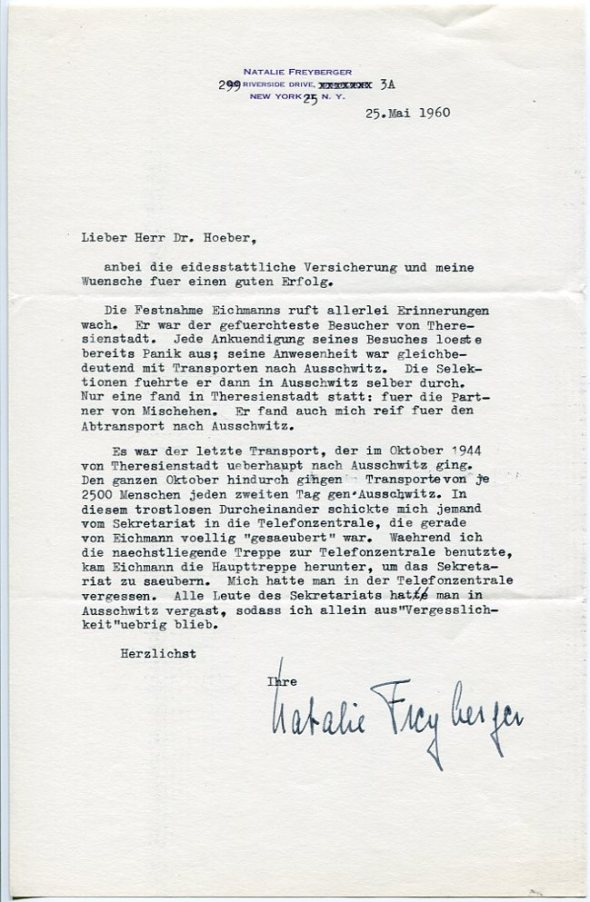 Letter from Natalie Freyberger to Johannes U. Hoeber, May 25, 1960.