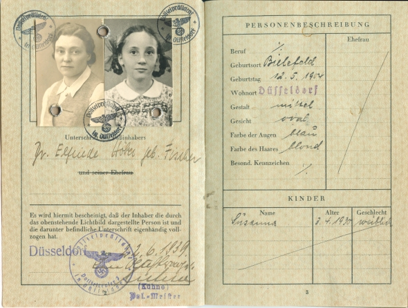 Passport issued by the German authorities on June 22, 1939 for Elfriede Fischer Höber and Susanne Höber.