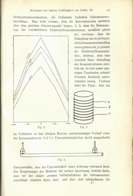 "Page of an article on ""Measuring the Internal Conductivity of Cells"" by Rudolf Höber, Bonn, 1913."