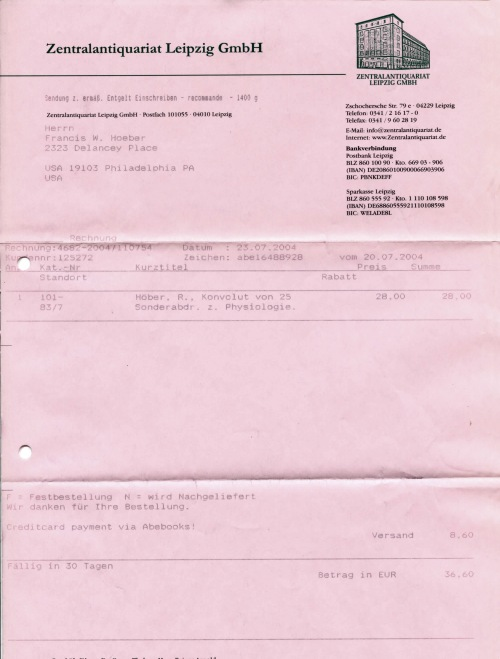 Invoice from the Central Used Book Depository (Zentralantiquariat) in Leipzig.