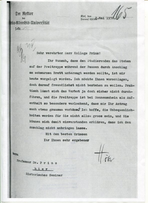 Letter from Rudolf Höber  to Professor Prinz declining to restrict students from congregating outdoors.  I am indebted to Dagmar Bickelmann of the Landesarchiv (State Archives) of the state of Schleswig-Holstein for unearthing this letter.