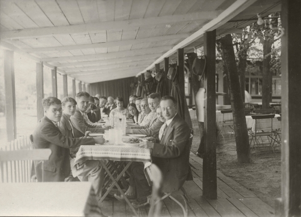 Rudolf Höber  (right)entertaining students of the medical school on a pleasant summer day near the University of Kiel, 1927.