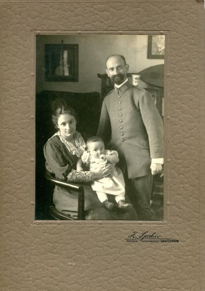 Werner Rosenthal and Erika Deussen Rosenthal, with their daughter Ruth, 1917. This was during World War I and Werner is wearing the uniform of an Army doctor.