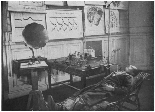 Man wired to a device of vacuum tubes, transformer and speaker, 1919.  This was an experiment by Rudolf Höber to make audible variations electricity in human cells. Physiological Institute, University of Kiel, Germany.