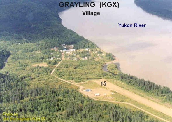 Town of Grayling, Alaska from with the Yukon and the town airstrip. Obviously there's lots of forest.