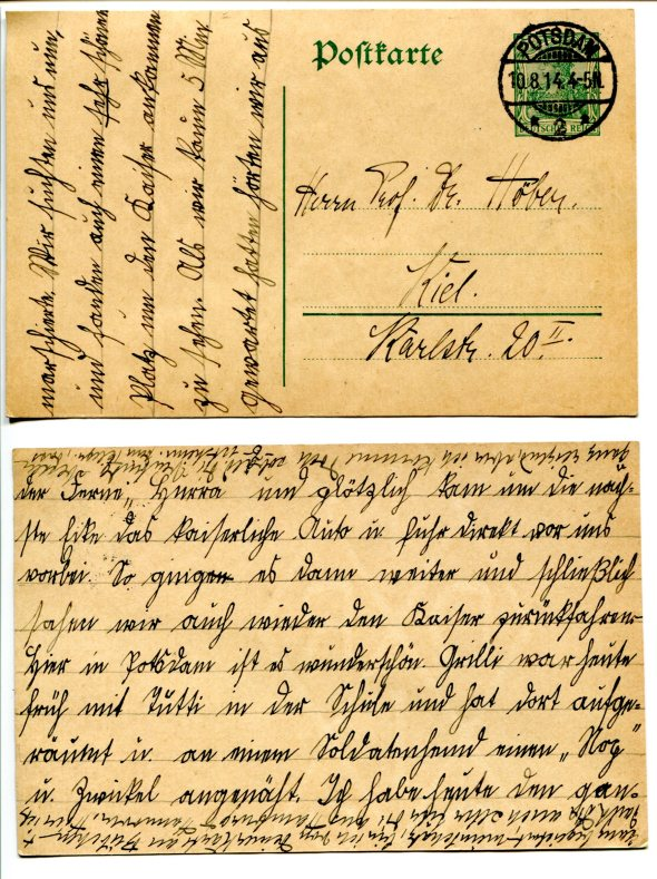 August 10, 1914, postcards from Johannes Höber, age 10, in Potsdam, to his father in Kiel.