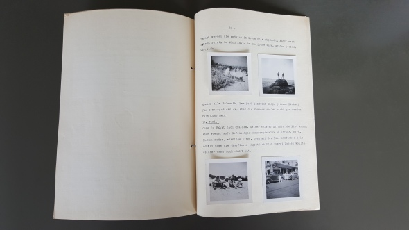 Page of Elfriede's trip diary with Johannes's photos.