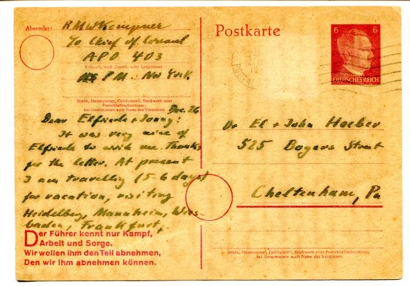 Postcard from Nuremberg Prosecutor Robert M. W. Kempner to Johannes and Elfriede Hoeber, December 26, 1945.