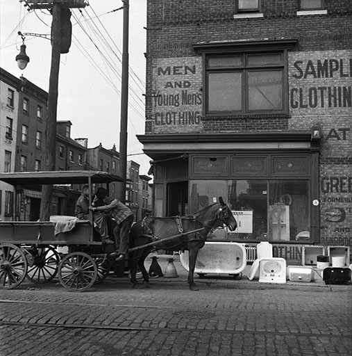 Bill Rapp, Street scene, 9th and Bainbridge Streets, Philadelphia, ca. 1950. Bill Rapp Collection, Free Library of Philadelphia.