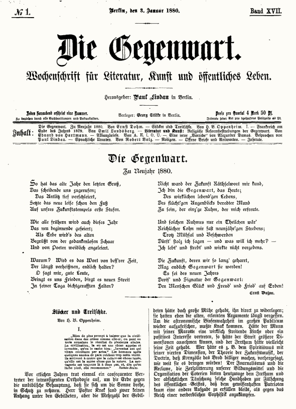 Heinrich Bernhard Oppenheim's rebuke to the notorious anti-Semites Heinrich von Treitschke and Adolf Stöcker, Die Gegenwart, January 1880.