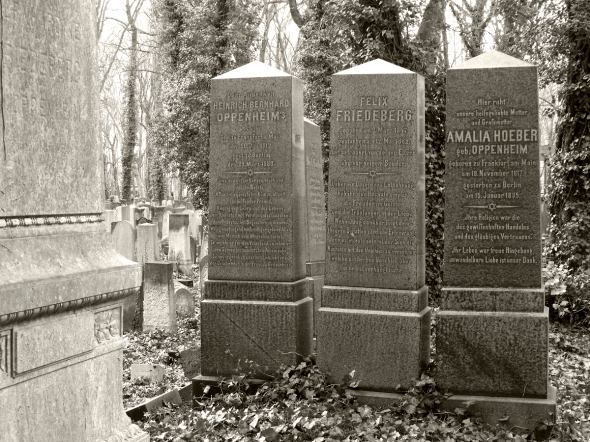 Heinrich Bernhard Oppenheim's grave (left), Schönhauserallee Cemetery, Berlin. The grave of his sister Amalia, my great-great grandmother, is on the right.
