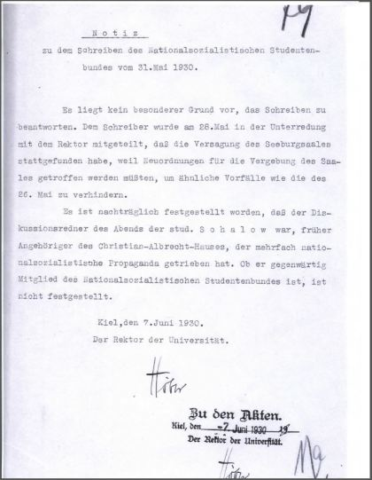 Rektor Rudolf Höber's memo concerning the Nazi attack on Prof. Schuecking, 7 June 1930.
